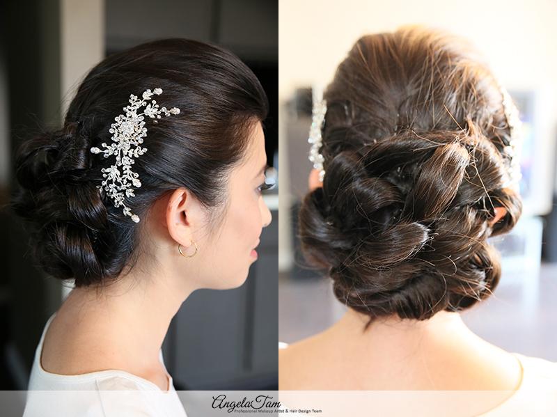 Hilton Universal Wedding Asian Bridal Updo Low Chinon Bun Hair